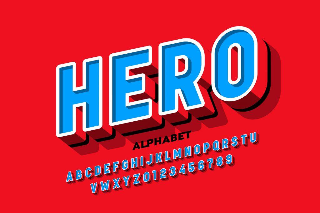 Alfabet fontu hero